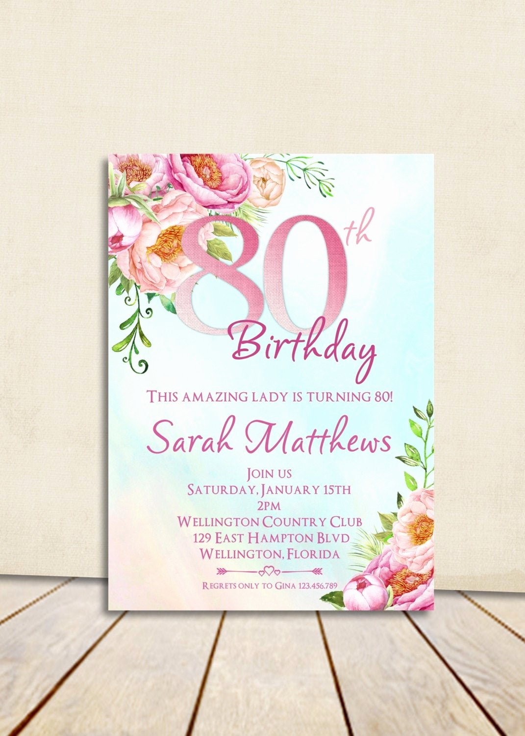 80th Birthday Party Invitations Inspirational 80th Birthday Invitation Adult Birthday Party Invite