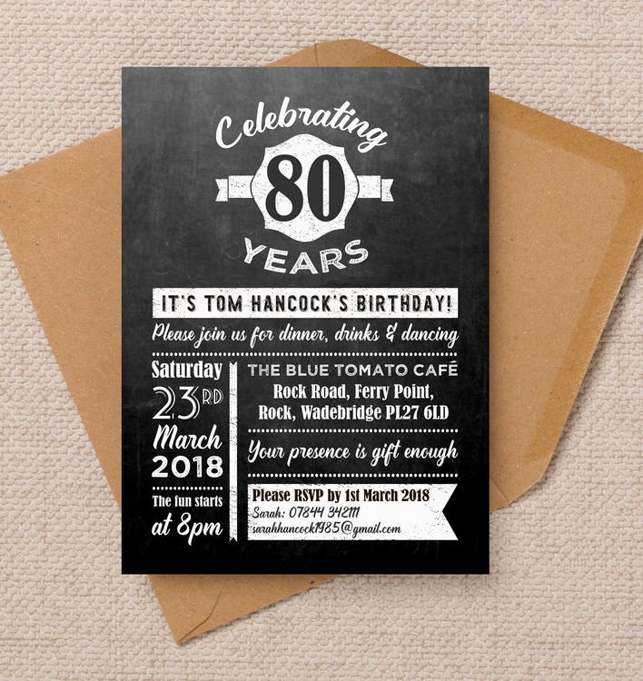 80th Birthday Party Invitations Lovely Chalkboard Typography 80th Birthday Party Invitation From