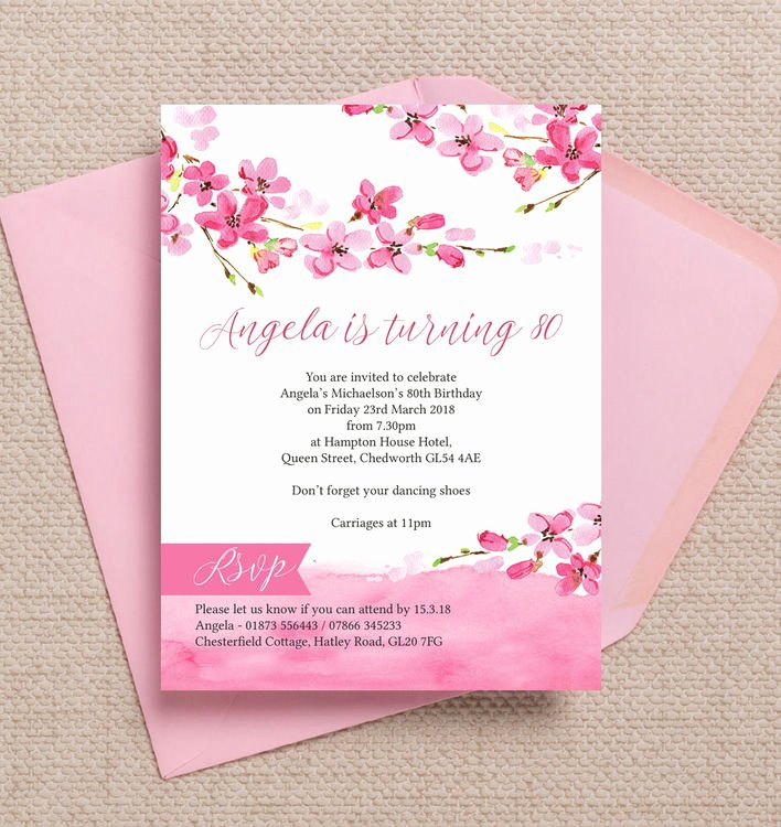80th Birthday Party Invitations Lovely Cherry Blossom Pink Floral 80th Birthday Party Invitation