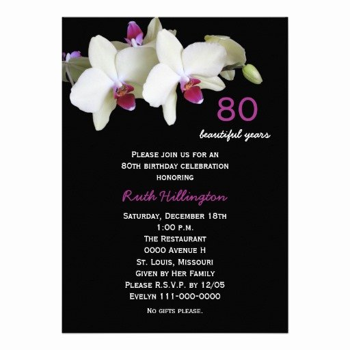 "80th Birthday Party Invitations Luxury 80th Birthday Party Invitation orchids 5"" X 7"