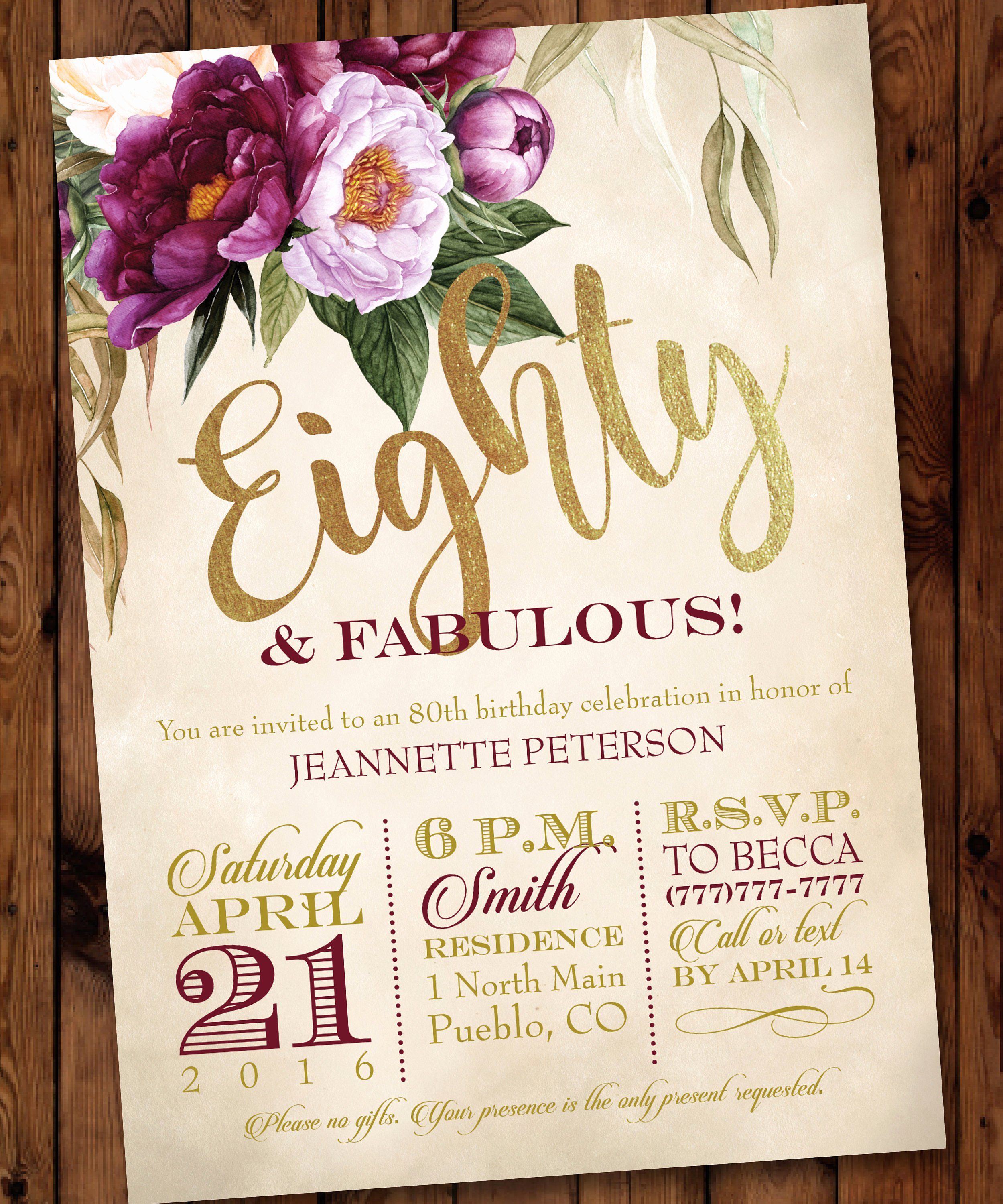 80th Birthday Party Invitations Luxury 80th Party Invitation Watercolor Floral Birthday