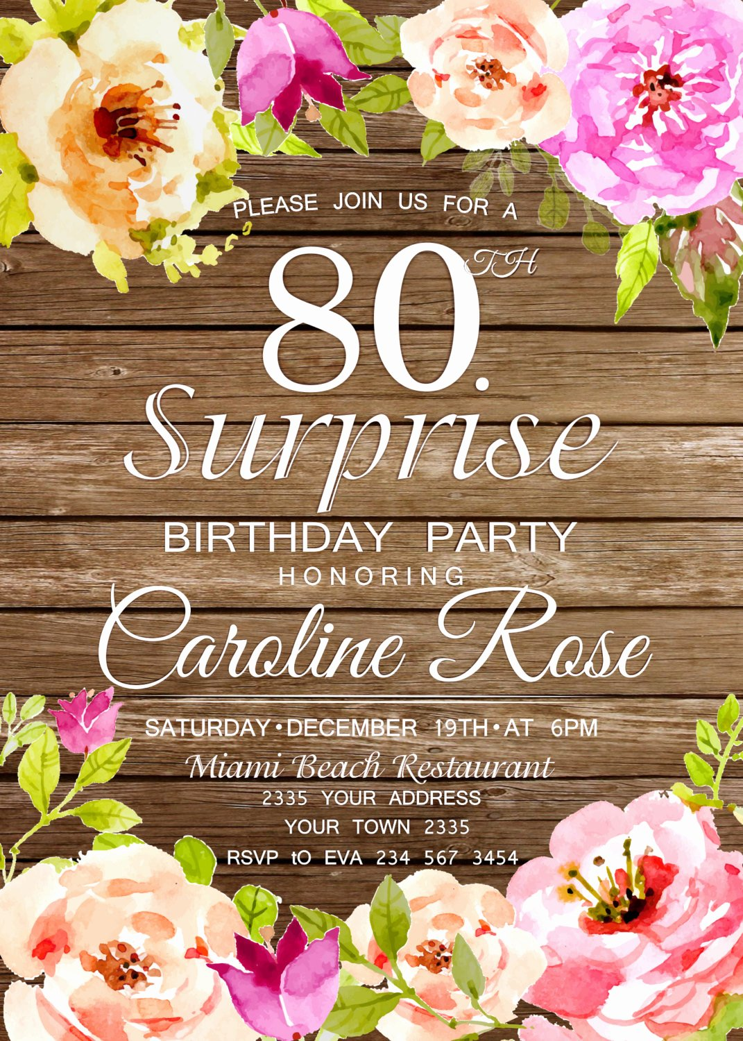80th Birthday Party Invitations New 80th Birthday Invitation Surprise Birthday Party Invitation