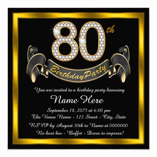 80th Birthday Party Invitations New Elegant Gold 80th Birthday Party Invitation