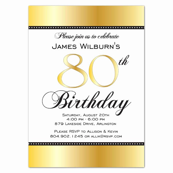 80th Birthday Party Invitations New Golden Celebration 80th Birthday Invitations
