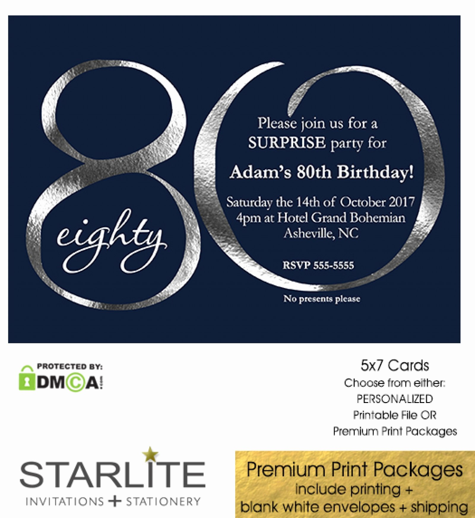 80th Birthday Party Invitations New Navy and Silver 80th Birthday Invitation Modern Number
