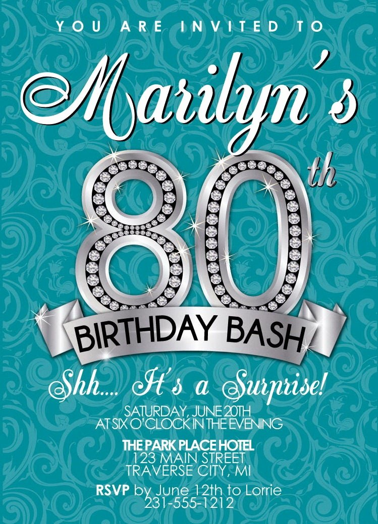 80th Birthday Party Invitations Unique 80th Birthday Invitation Adult Birthday Party by