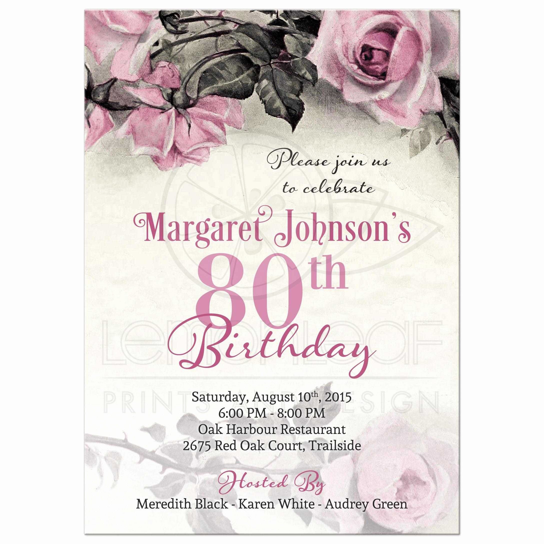 80th Birthday Party Invitations Unique 80th Birthday Invitation