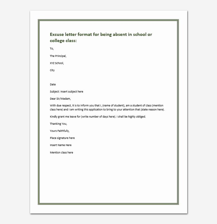Absent Letter for School Beautiful Excuse Letter for Being Absent In School College Class