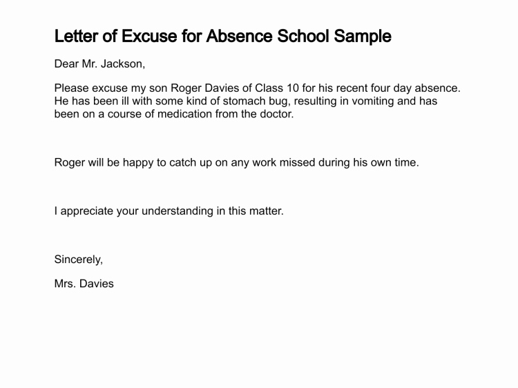 Absent Letter for School Beautiful Letter Of Excuse