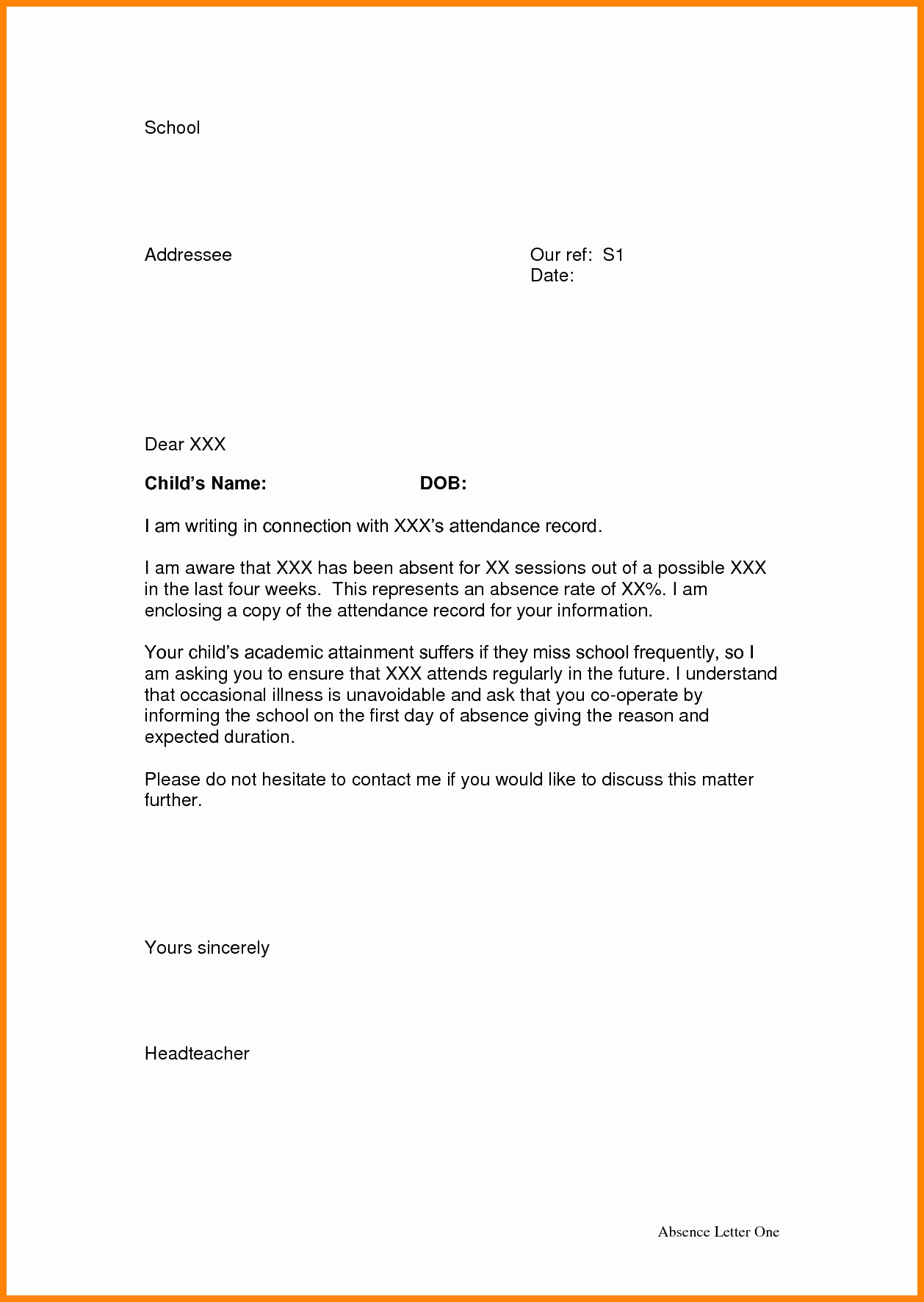 Absent Letter for School Lovely 3 Absence Letter From School Appeal Leter
