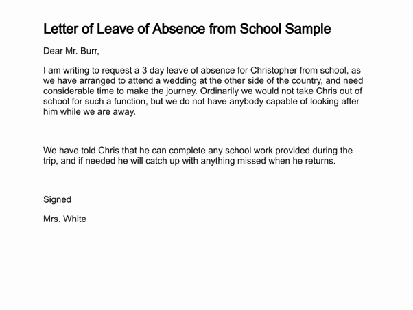 Absent Letter for School New What is A Good Sample Letter to Write An Absence From