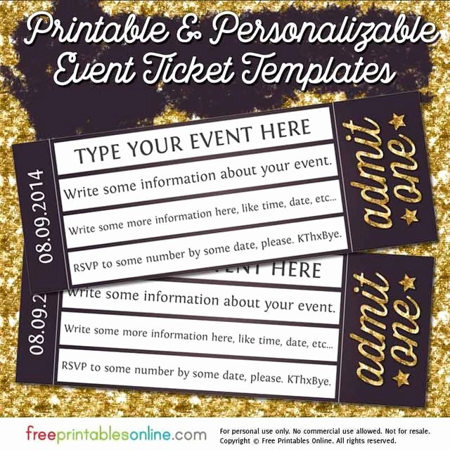Admit One Ticket Template Awesome Admit E Gold event Ticket Template Free Printables