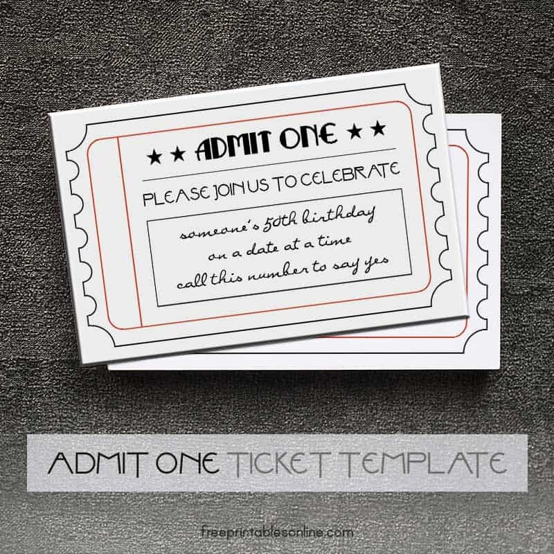 Admit One Ticket Template Fresh Black and White Printable Admit E Tickets
