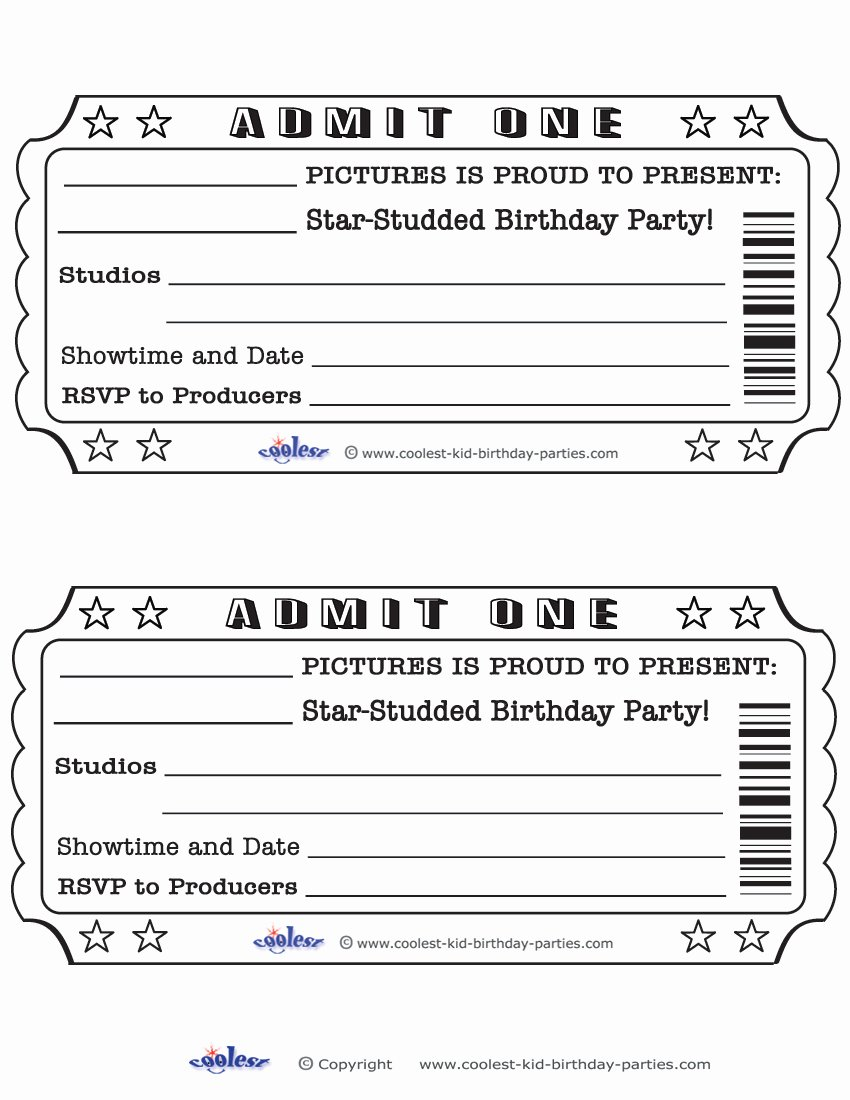 Admit One Ticket Template Inspirational Blank Movie Ticket Invitation Template Free Download Aashe