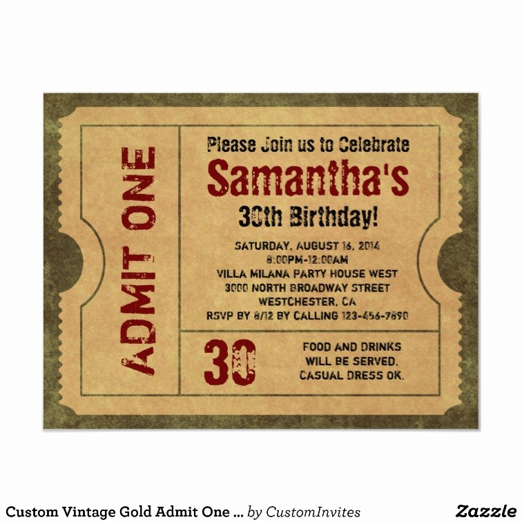 Admit One Ticket Template Lovely Custom Vintage Gold Admit E Ticket Invitations