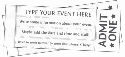 Admit One Ticket Template Lovely Free Printable event Ticket Templates