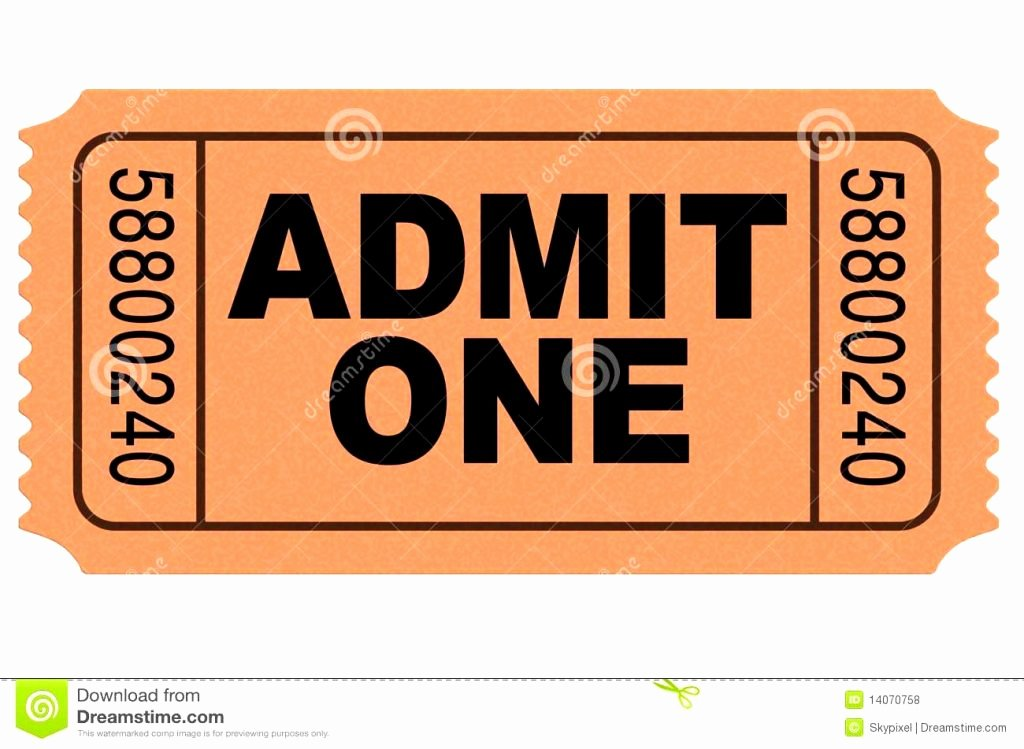 Admit One Ticket Template Luxury Admit E Ticket Template