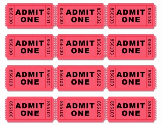 Admit One Ticket Template Luxury Movie themed Birthday Party Driven by Decor