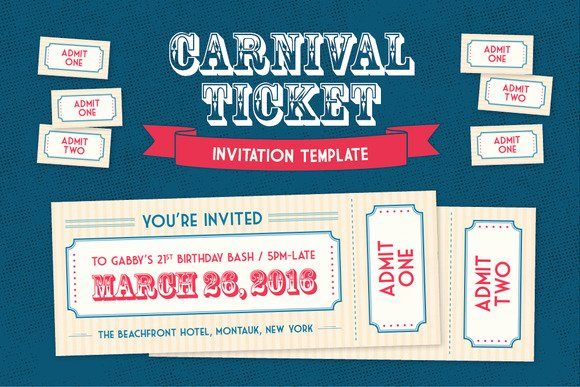 Admit One Ticket Template Unique Admit E Carnival Ticket Template Designtube Creative