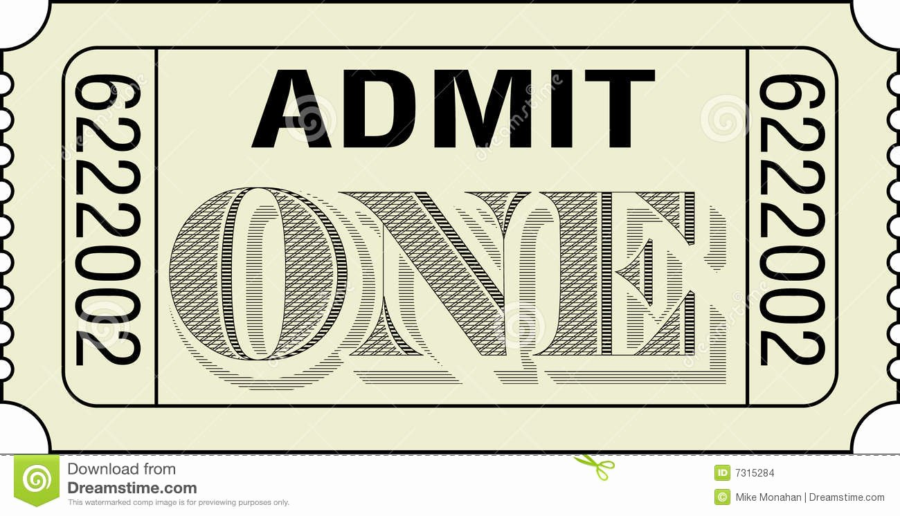 Admit One Ticket Template Unique Admit E Ticket Stock Image