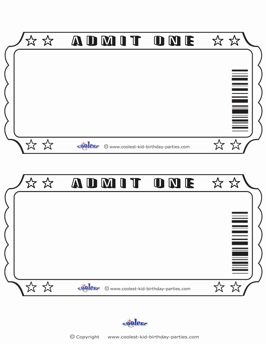 Admit One Ticket Template Unique Blank Printable Admit E Invitations Coolest Free