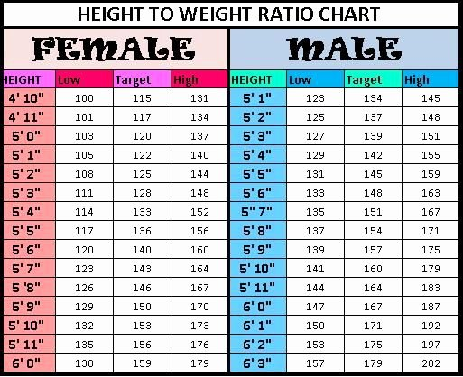 Age and Weight Chart Luxury Height to Weight Chart
