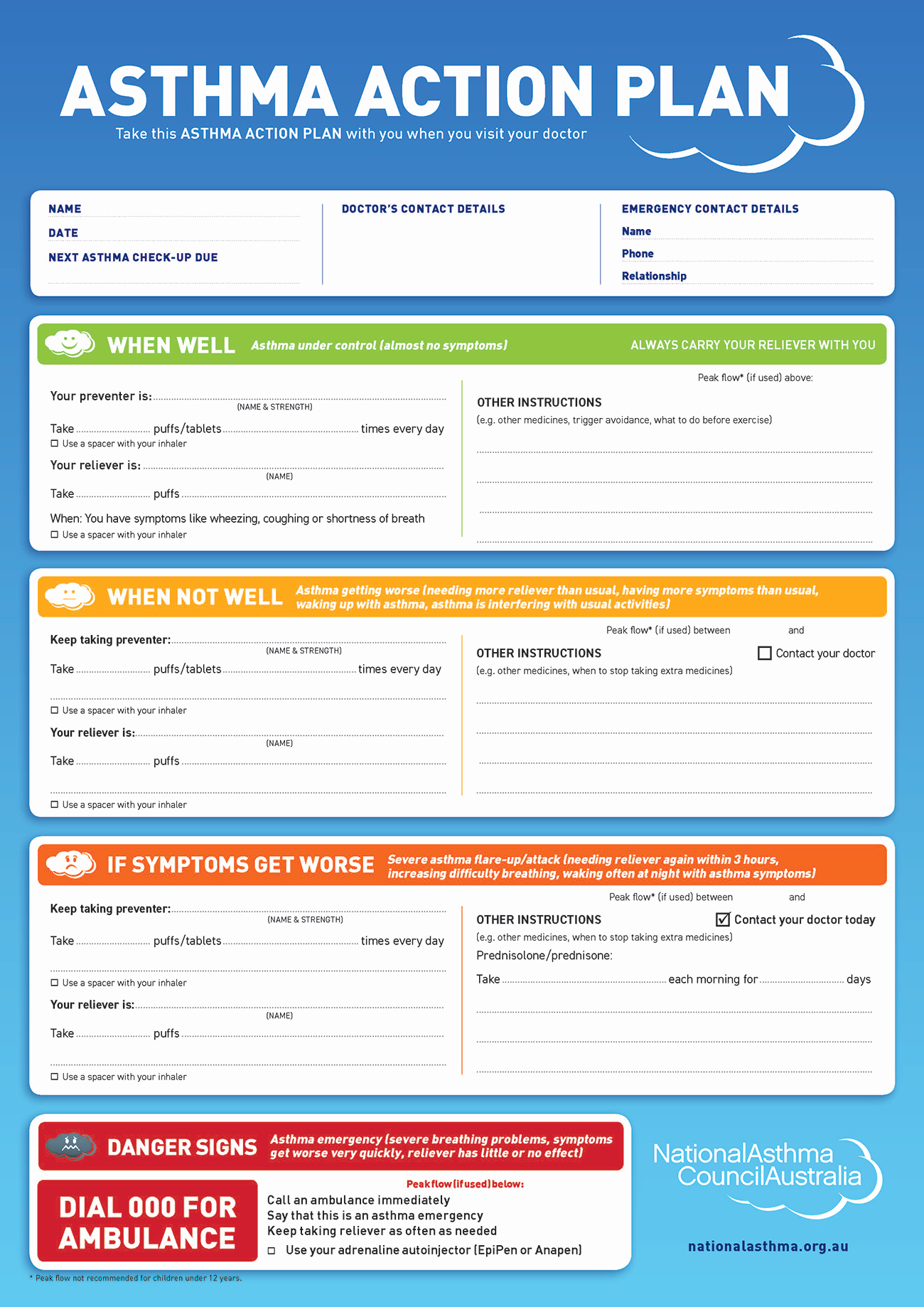 Asthma Action Plan form Awesome Written asthma Action Plan