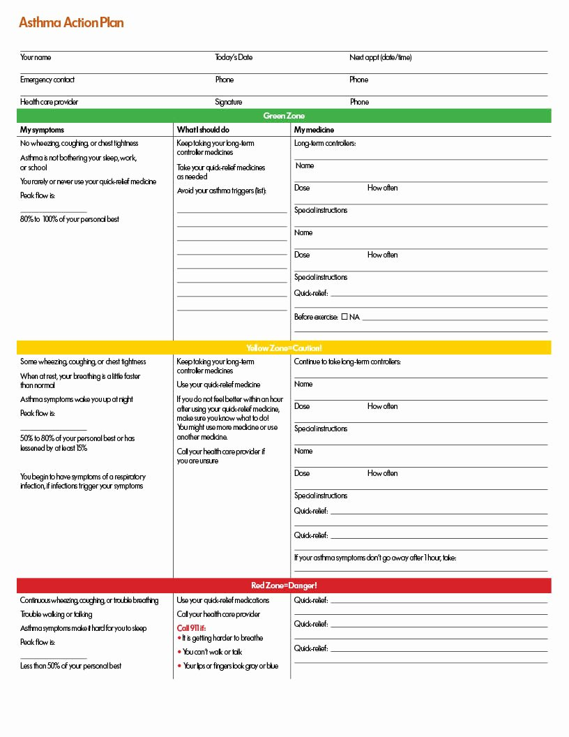 Asthma Action Plan form Best Of An asthma Action Plan for Your Child