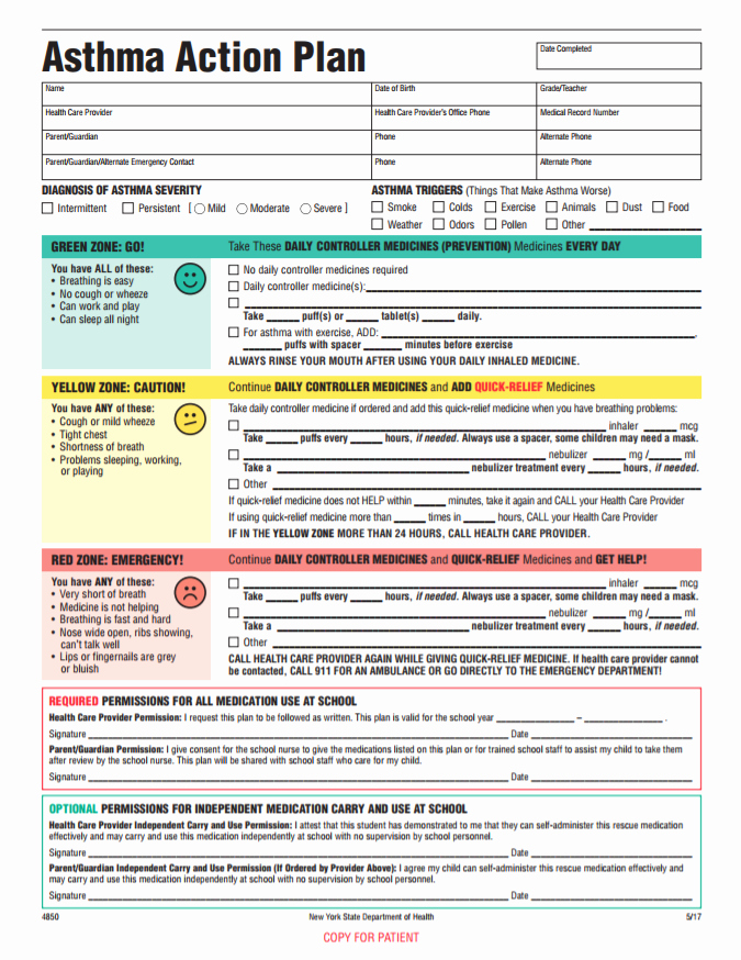 Asthma Action Plan form Best Of Staten island Pps Website