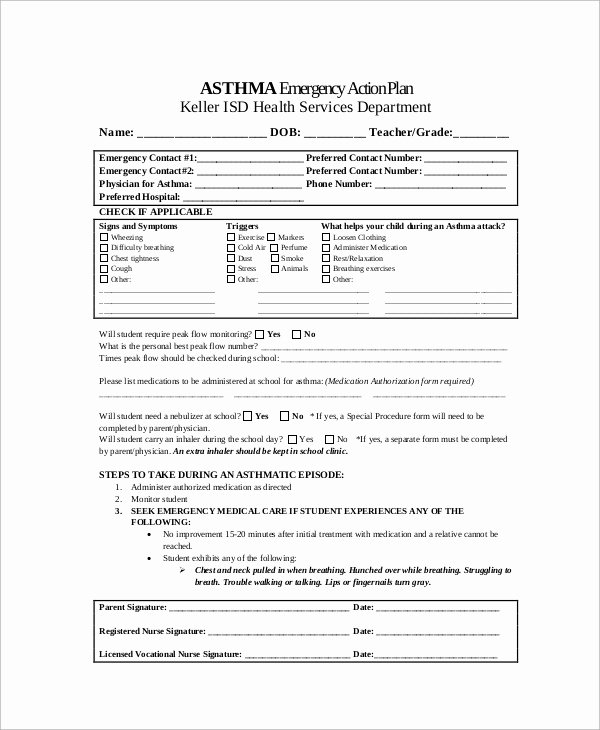 Asthma Action Plan form Elegant Sample asthma Action Plan 9 Examples In Word Pdf
