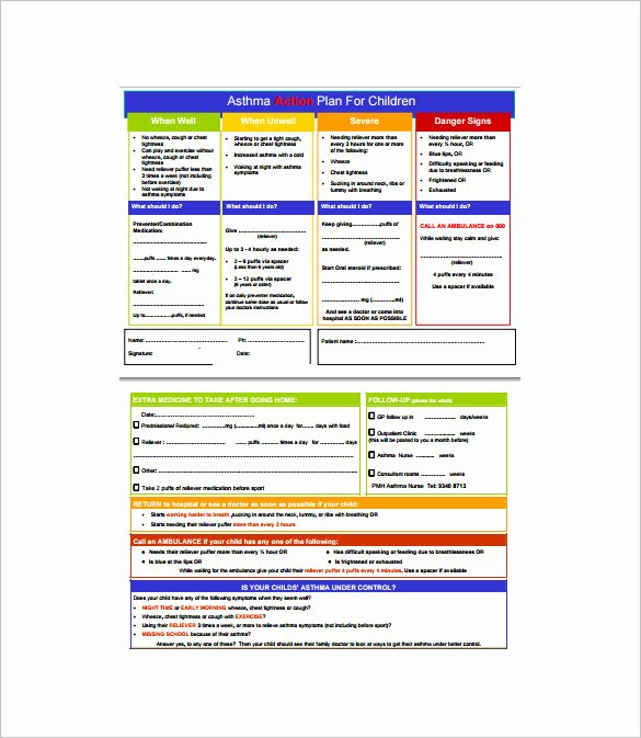 Asthma Action Plan form Fresh 9 asthma Action Plan Template Doc Excel Pdf