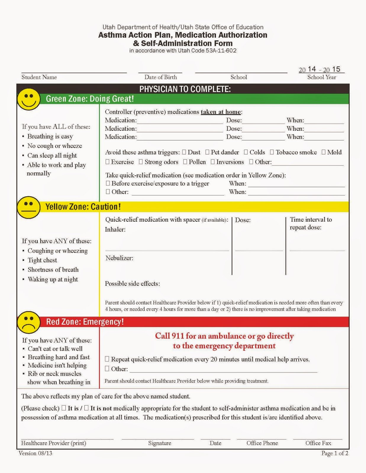 Asthma Action Plan form Fresh My Life as An asthma Mom June 2014