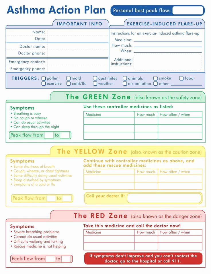 Asthma Action Plan form New 29 Best Images About Medical Action Plans On Pinterest