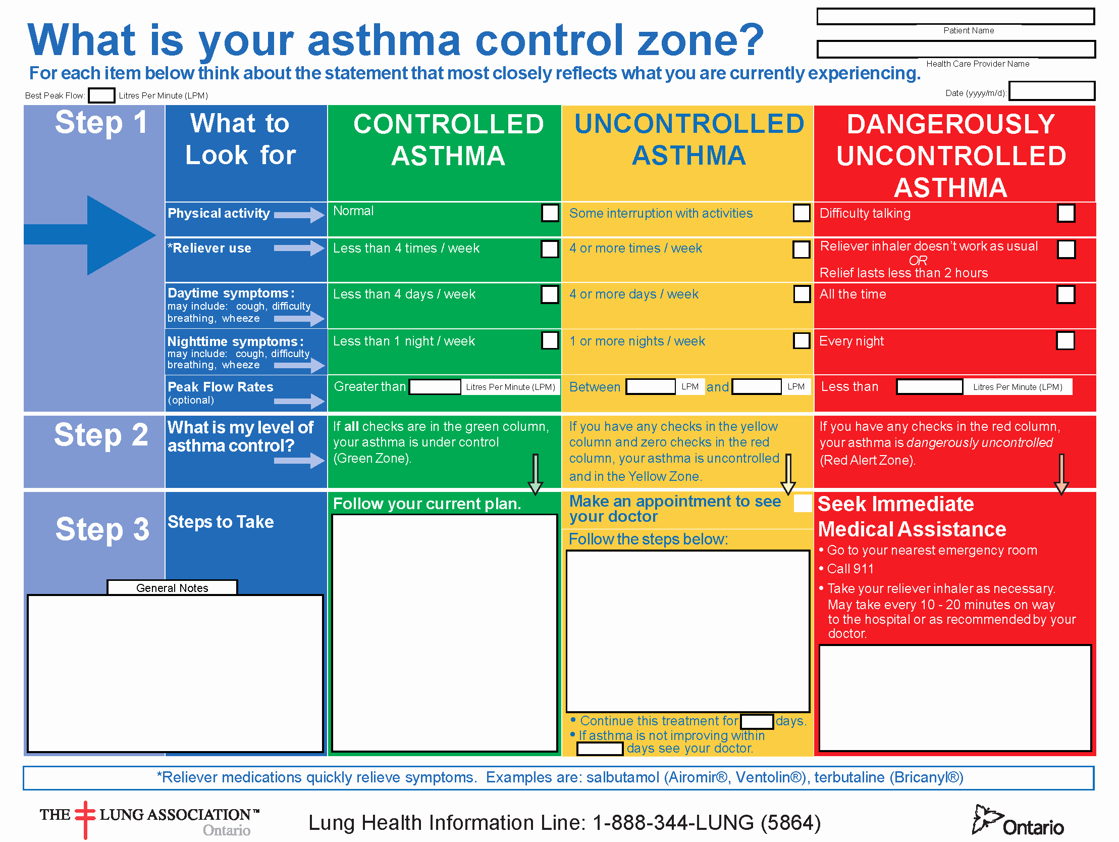 Asthma Action Plan form New asthma Action Plan Fillable Final Tario Lung association