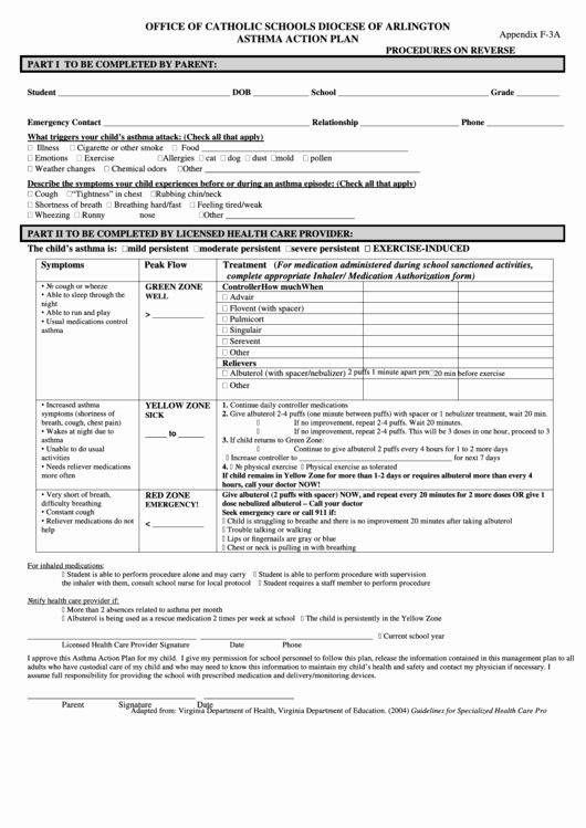 Asthma Action Plan form New form Appendix F 3a Fice Catholic Schools Diocese