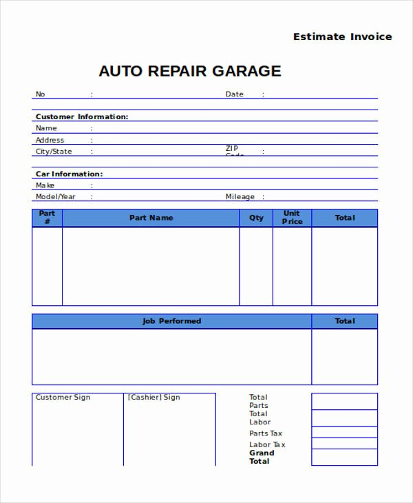 Auto Repair Estimate Template Awesome 9 Auto Repair Invoice Templates Free Word Pdf Excel