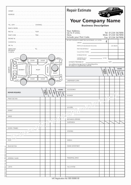 Auto Repair Estimate Template Beautiful Car Repair Estimate forms