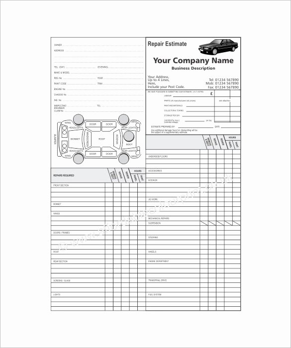 Auto Repair Estimate Template New Auto Repair Estimate Template Excel