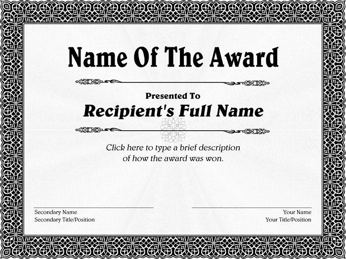 Award Certificate Template Free Awesome Award Certificate Sample