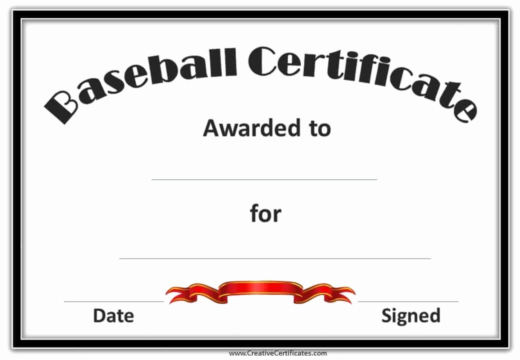 Award Certificate Template Free Awesome Free Editable Baseball Certificates Customize Line