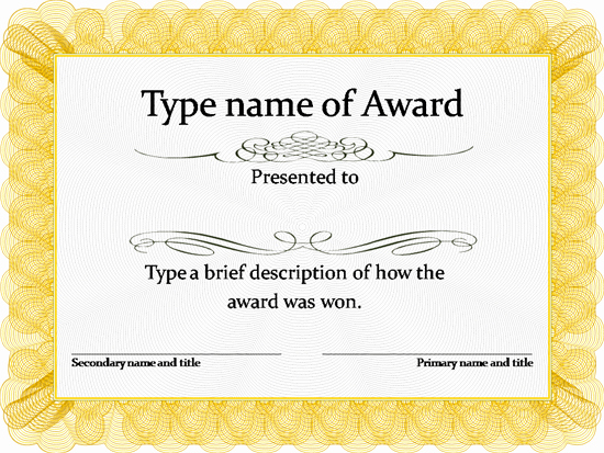 Award Certificate Template Free Awesome Gold Award Certificate Template …