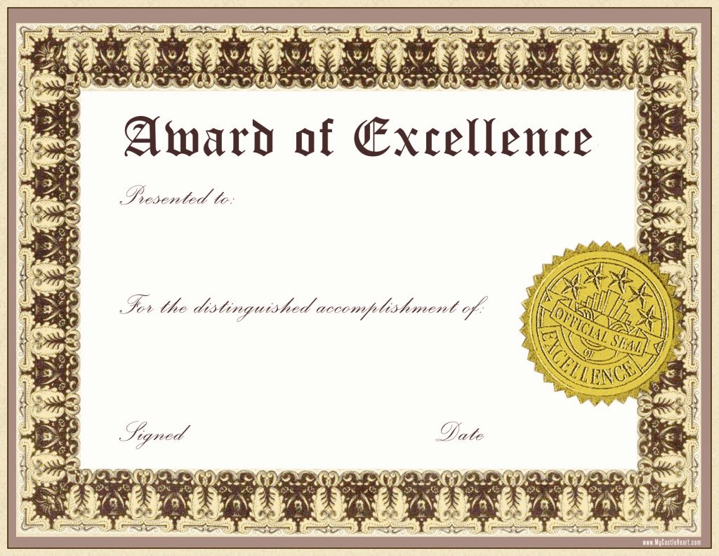 Award Certificate Template Free Awesome Impressive Award Of Excellence Template with Gold Stamp