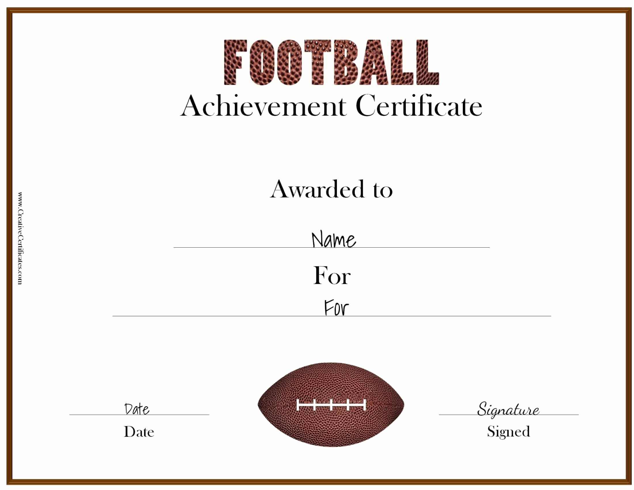 Award Certificate Template Free Beautiful Free Custom Football Certificates
