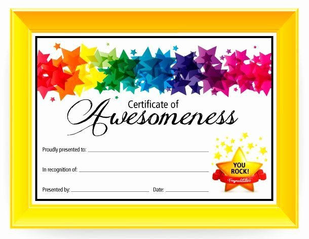 Award Certificate Template Free Elegant Certificate Of Awesomeness