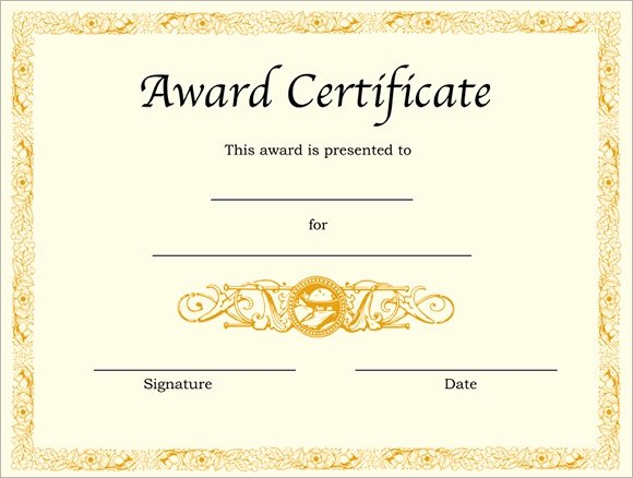 Award Certificate Template Free Elegant Free 10 Award Templates In Illustrator Ms Word