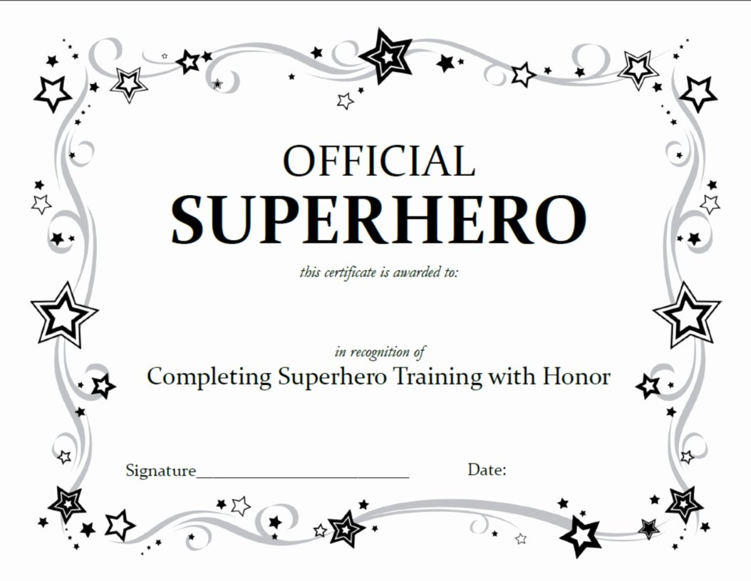 Award Certificate Template Free Elegant Superhero Squad Party Activities A Little Tipsy