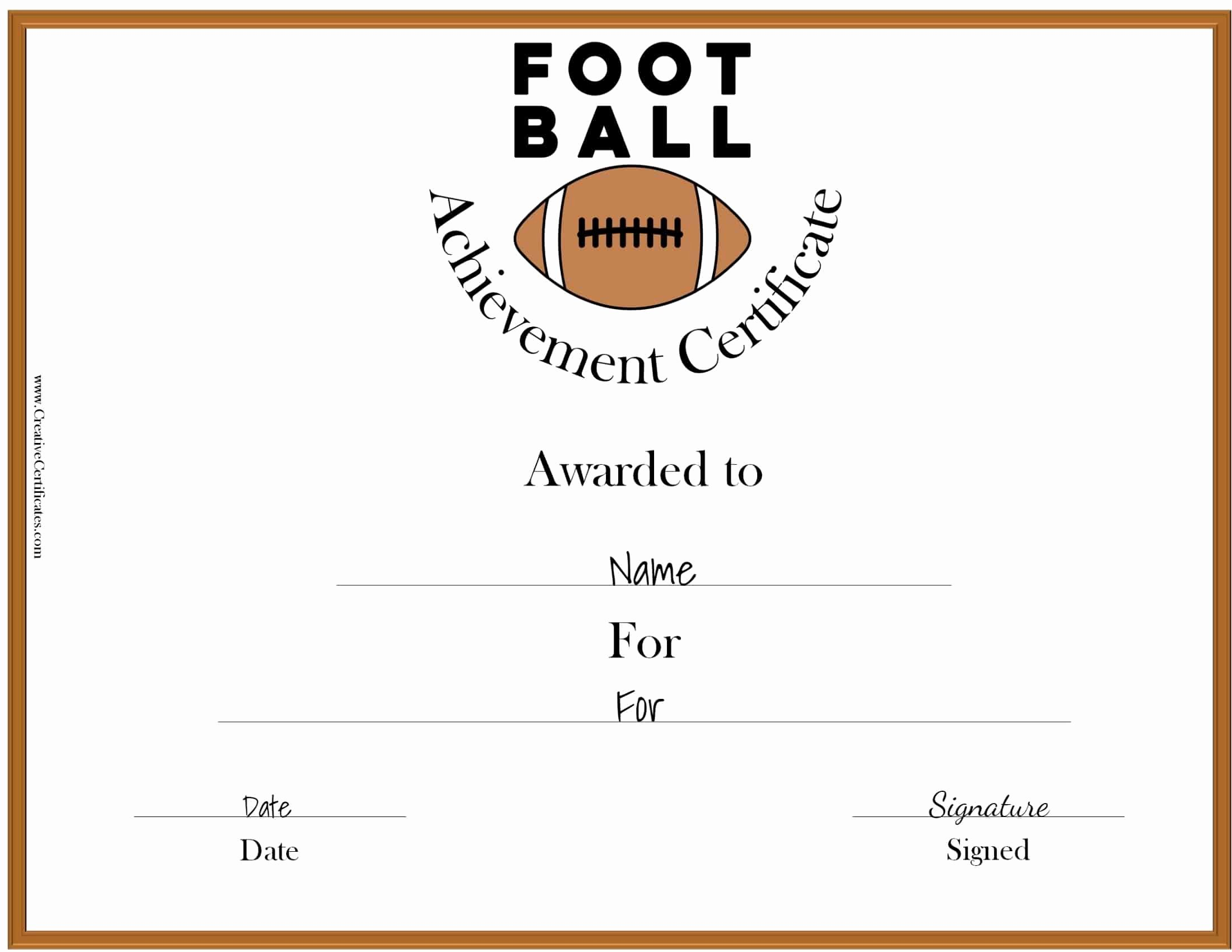 Award Certificate Template Free Fresh Free Custom Football Certificates
