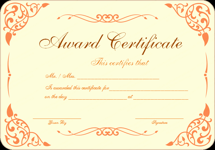 Award Certificate Template Free Fresh Free Download Award Certificate Template Samples Thogati