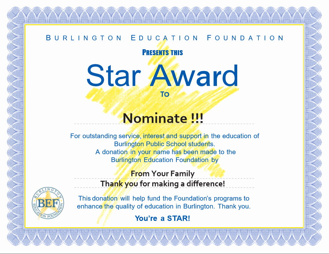 Award Certificate Template Free Inspirational Star Awards Burlington Education Foundation