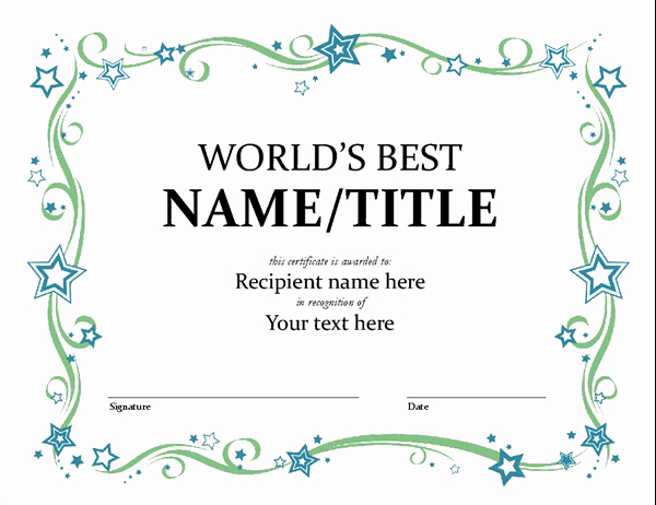 Award Certificate Template Free Lovely World S Best Award Certificate